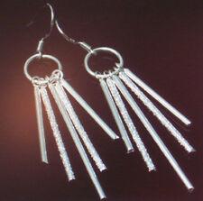 Damen Ohrringe Ohrhänger Stäbchen - Farbe Silber - plattiert - Schmuck 0315