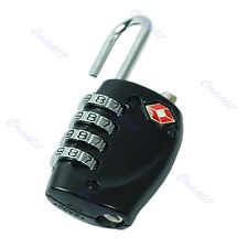 TSA Resettable 4 Digit Combination Travel Bag Luggage Suitcase Lock Padlock BK