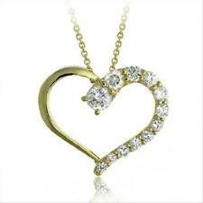 18k Gold over Silver CZ Heart Journey Pendant Necklace