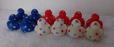 """12 Mini 4th Of July Floating Ducks. Red White Blue About 1-1/2"""" Square"""