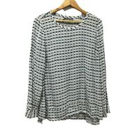 Sussan Womens Size 14 Long Sleeve White Pattern Blouse Ladies Simple Casual NWOT
