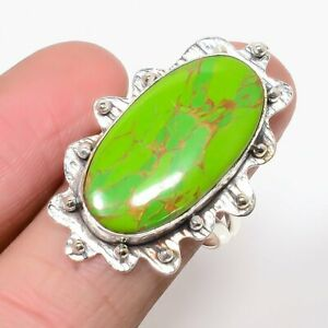 Copper Green Turquoise 925 Sterling Silver Jewelry Ring s.8 M1466