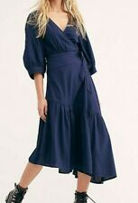Free People Don't Mind If I Do Wrap Midi Dress Navy Size XS