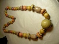 """Vintage 70s 80s PASTELS Wood Beaded Necklace NATURAL BOHO HIPPIE 24"""""""