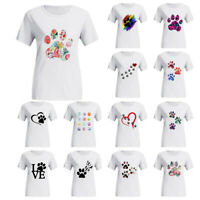 Dog Cat Paw Print Women Ladies Lover Short Sleeve Ladies T Shirt Tee Tops Blouse