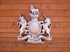 ROYAL COAT OF ARMS, VERY LARGE WALL PLAQUE. Queen Crest Warrant. Antique Silver.