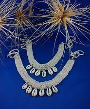 Choker Cowrie Shell Necklace Crochet Adjustable Ties Surf Jewellery BoHo Kuchi