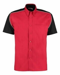 GameGear Formula Racing Red/Black/White Cotton Short Sleeve Shirt Size Small New