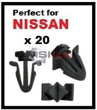 20 x GRILL CLIPS FASTENERS to fit some NISSAN FRONT GRILLS and RADIATOR GRILLES