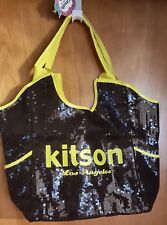 Kitson black sequins neon yellow trim shopper diaper tote bag new
