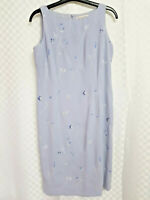Ladies JACQUES VERT Shift Dress Size 12 Grey Floral Embroidered Sleeveless Zip