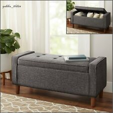 Mid-Century Modern Gray Upholstered ACCENT STORAGE BENCH End of bed, Pecan Wood