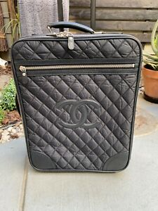 CHANEL Paris-New York Nylon Leather Luggage Trolley Suitcase Travel Carry-On
