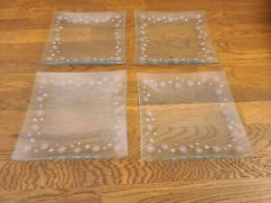 Set of 4 Pampered Chef Clear-Glass Floral Daisy Dessert Plates