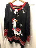 Woman's Black Llama Christmas Sweater Dress