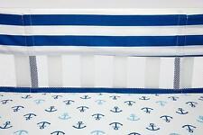 Little Bedding: Splish Splash Secure Me Crib Liner- Navy/White by NoJo