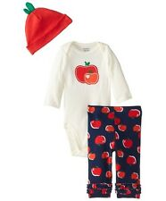 Gerber Girls 3-Piece Red Apples Set w/ Cap,Pants & Onesie; BABY CLOTHES GIFT