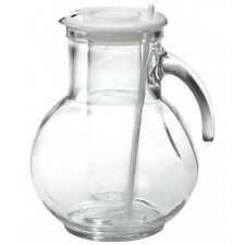 Clear Glass Pitcher Ice Dispenser Lid Jug Drink Water Beverage Tea Juice Handle