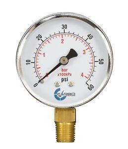 "2-1/2"" Pressure Gauge - Chrome Plated Steel Case, 1/4""NPT, Lower Mnt. 60 PSI"