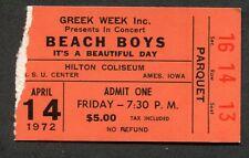 1972 The Beach Boys concert ticket stub Ames Iowa Surfin Safari