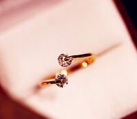 Women Gold Plated Crystal beaded Bridal Engagement Ring Size adjustable one