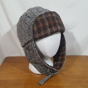 """Black White Brown Plaid Neck & Earflap Hunting Trapper Winter Hat Cap Size 21.5"""""""