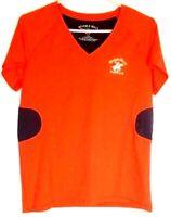 Womens Beverly Hills Polo Club XL V Neck Short Sleeve Red Shirt