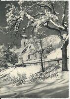 Ansichtskarte Ramsau - Ramsau mit Reiteralpe mit Kirche im Winter - schwarz/weiß