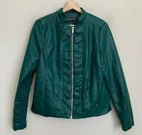 Baccini Moto Jacket Womens Green Faux Leather Ruffle Trim Zip Pockets Lined Sz M