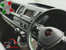 FOR IKCO ARISUN -BLACK STEERING WHEEL COVER GREEN STITCH