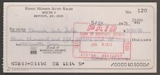 BANK CHECK For 1969 CORVETTE Obsolete Bank And Business CANCELLED 1971 KY Bank