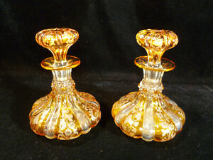PAIR OF OUTSTANDING MOSER BOHEMIAN AMBER ETCHED PERFUME SCENT BOTTLES CIRCA 1920
