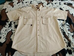 Authentic BROWNING, BUTTON DOWN SHIRT, LARGE BEIGE, VENTED BACK, DOUBLE POCKETS