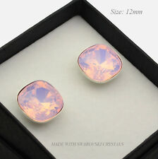 925 SILVER EARRINGS STUDS MADE WITH SWAROVSKI CRYSTALS FANCY STONE- ROSE WATER O