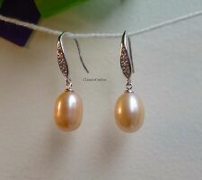 925 silver genuine drop shape 9-10mm freshwater pearl crystal earrings Pink