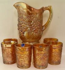 Vintage Imperial Grape Marigold Carnival Glass Water Pitcher Set w/ 6 Tumblers