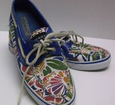 Ladies Sperry top-slider Bright Blue floral Casual Deck  shoes 7M
