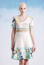 Ivko Falten-Kleid Beige white creme orange Brokat Dress 201340