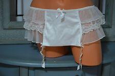 Victoria's Secret panty garter belt S/XS white ruffle peek a boo bride bridal