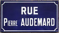 French enamel street sign plaque road Pierre Audemard killed by Nazis Etampes