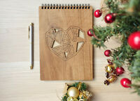 Natural Oak-Tree Wood Journal. Notebook. Laser Engraved Heart.Giftbook. A5