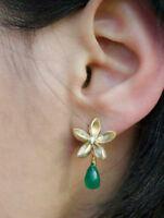 Solid 925 Sterling Silver Flower Green Pear Dangle Earrings Women  Jewelry New