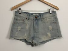 COTTON ON Womens Blue Faded Distressed Cut Off Raw Hem Festival Shorts Size 10