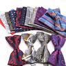 10 Color Mens Bow Tie Pocket Square Set Ties Polyester Wedding Party Tie Hanky