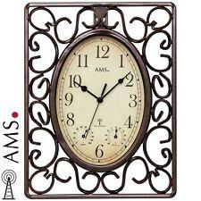 AMS Wanduhr 5976 Funk Metalluhr Funkuhr Temperatur- und Feuchtigkeitsanzeige
