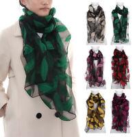foulards d'organza l'écharpe de feuille de broderie peignoir en soie long châle