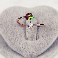 LC_ donna variopinto Multicolore Strass Fidanzamento DITO APERTO anello gioielli