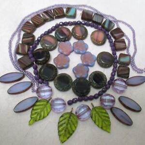 HUGE Collection of Black Czech glass beads + lilac and olive accents