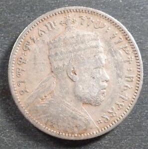 Ethiopia - Manelik II, Silver 1/4 Birr, EE1895A, toned