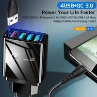 Portable QC 3.0 Charge Rapide 4 Ports USB Hub Chargeur mural Adaptateur secteur